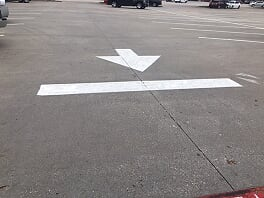 Directional arrows in El Paso, Texas parking lot